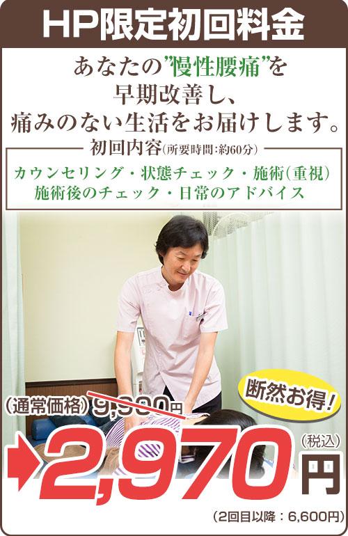 慢性腰痛9,900円→2,970円